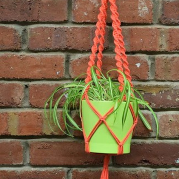 Coral pink crochet plant hanger with a green plant pot and plant, against a brick wall backdrop.